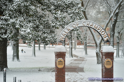 Snow Day. Photo by Kevin Bain/Ole Miss Communications